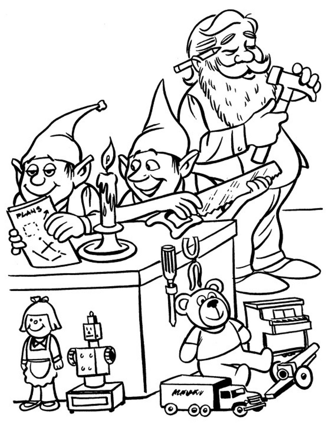 Christmas Coloring Pages Elf With Elves And Santa For Kids