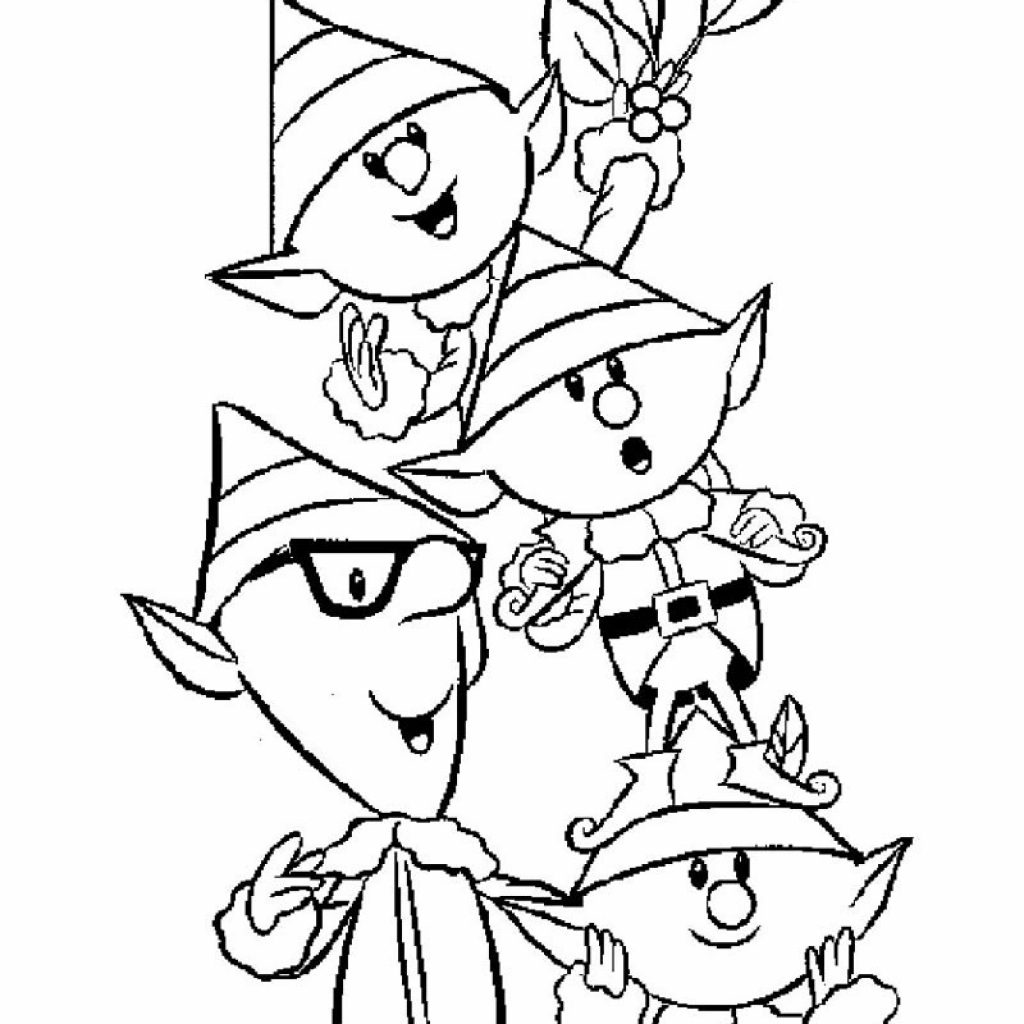 Christmas Coloring Pages Elf With Girl Hellokids Com