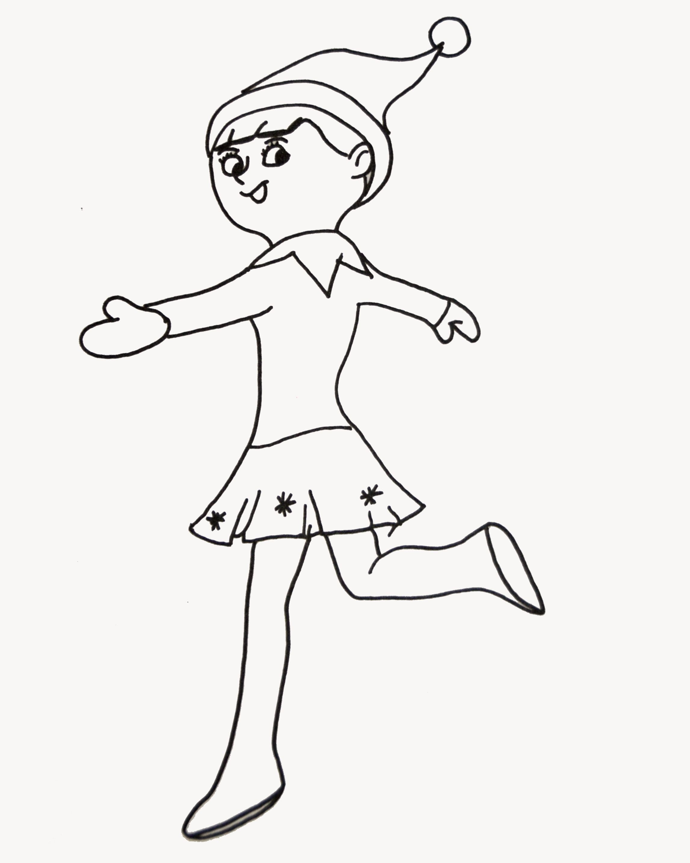 Christmas Coloring Pages Elf With On The Shelf Refrence