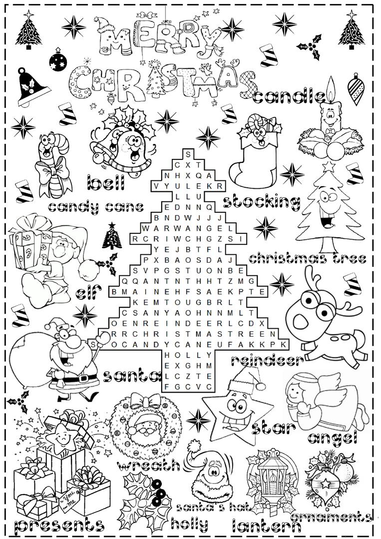 Christmas Coloring Pages Esl With 858 FREE ESL Worksheets