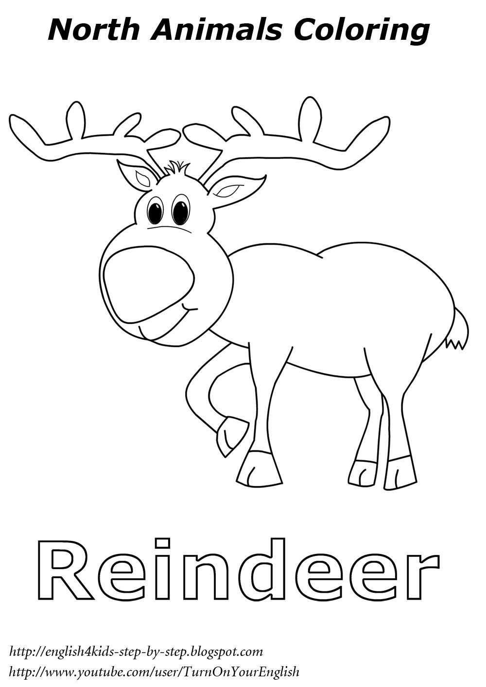 Christmas Coloring Pages Esl With Reindeer North Animal English