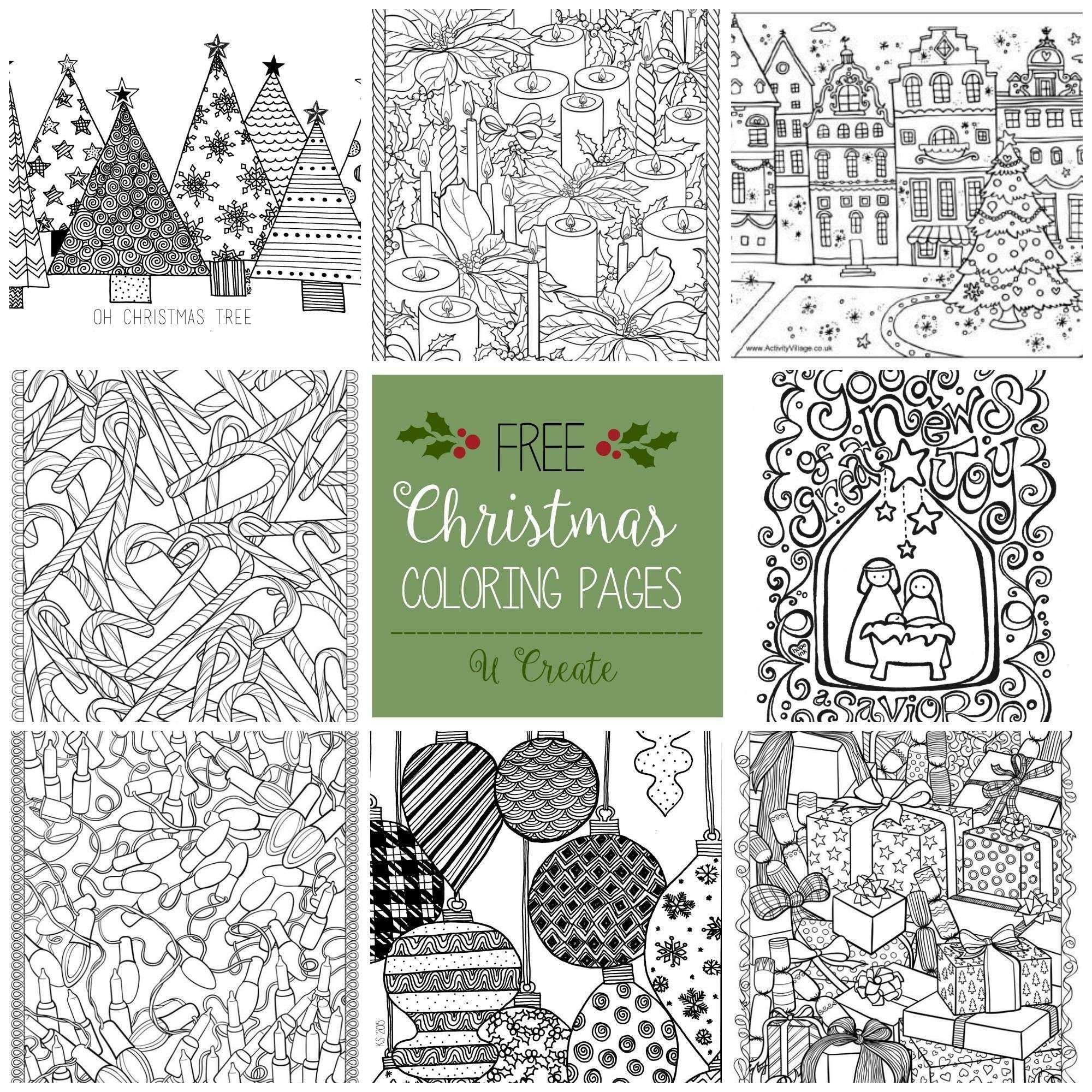 Christmas Coloring Pages For Adults Pdf With Tree Page