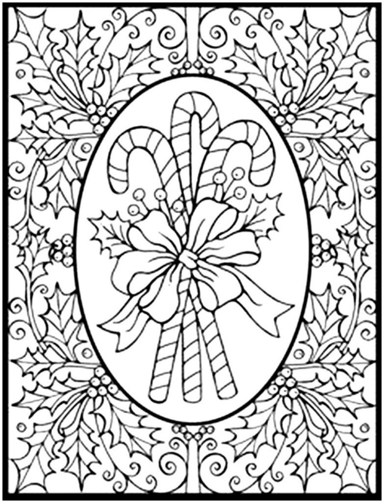 Christmas Coloring Pages For Adults To Print With Free Bauble