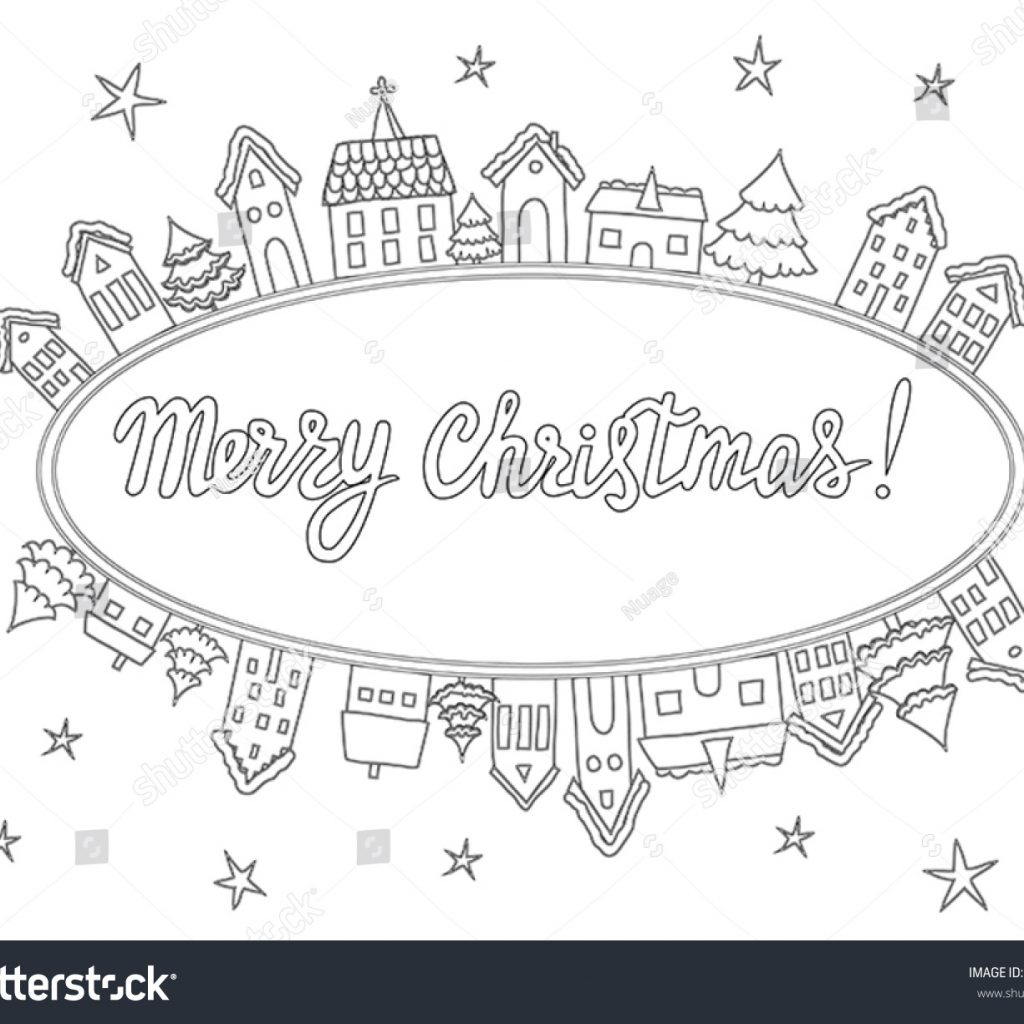 Christmas Coloring Pages For Cards With Vector Template Stock Royalty