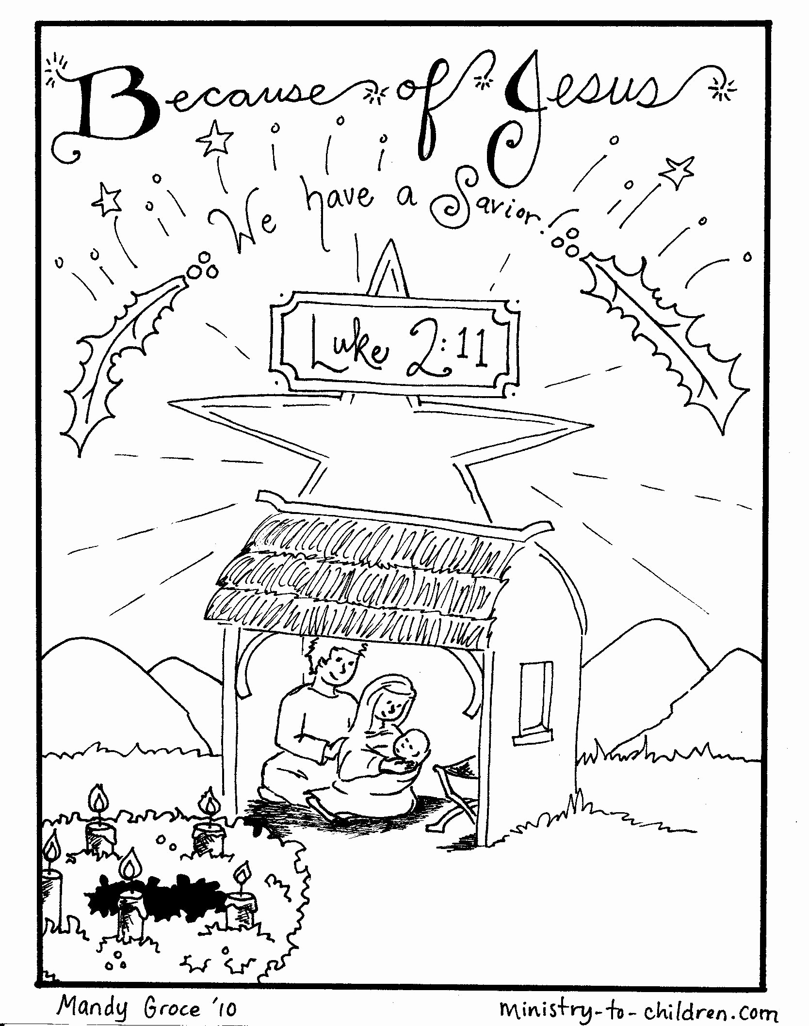 Christmas Coloring Pages For Children S Church With Christian Printable