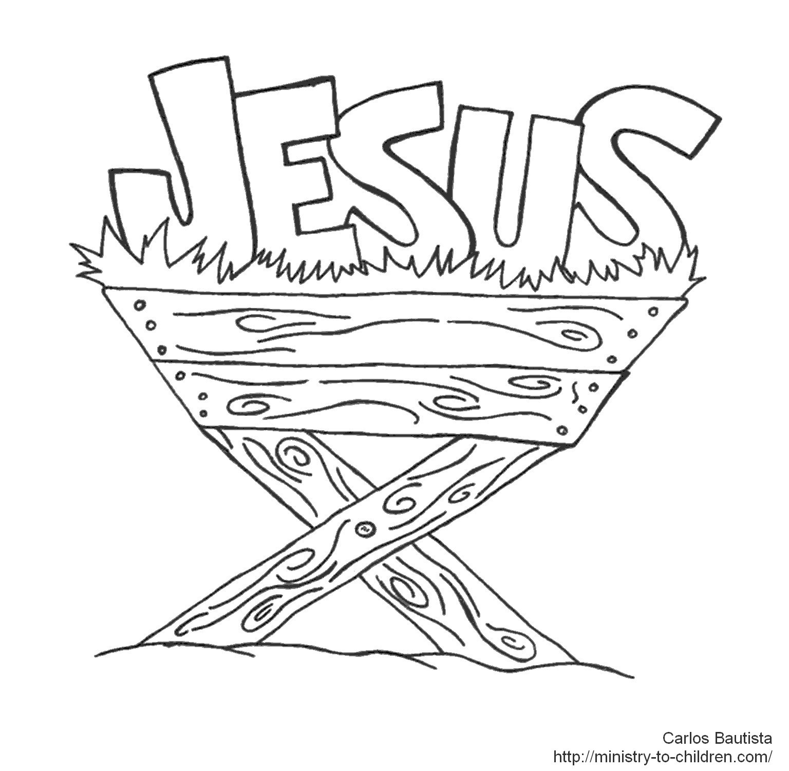 Christmas Coloring Pages For Children S Church With Jesus Manger Or Crib Holidays And Observances