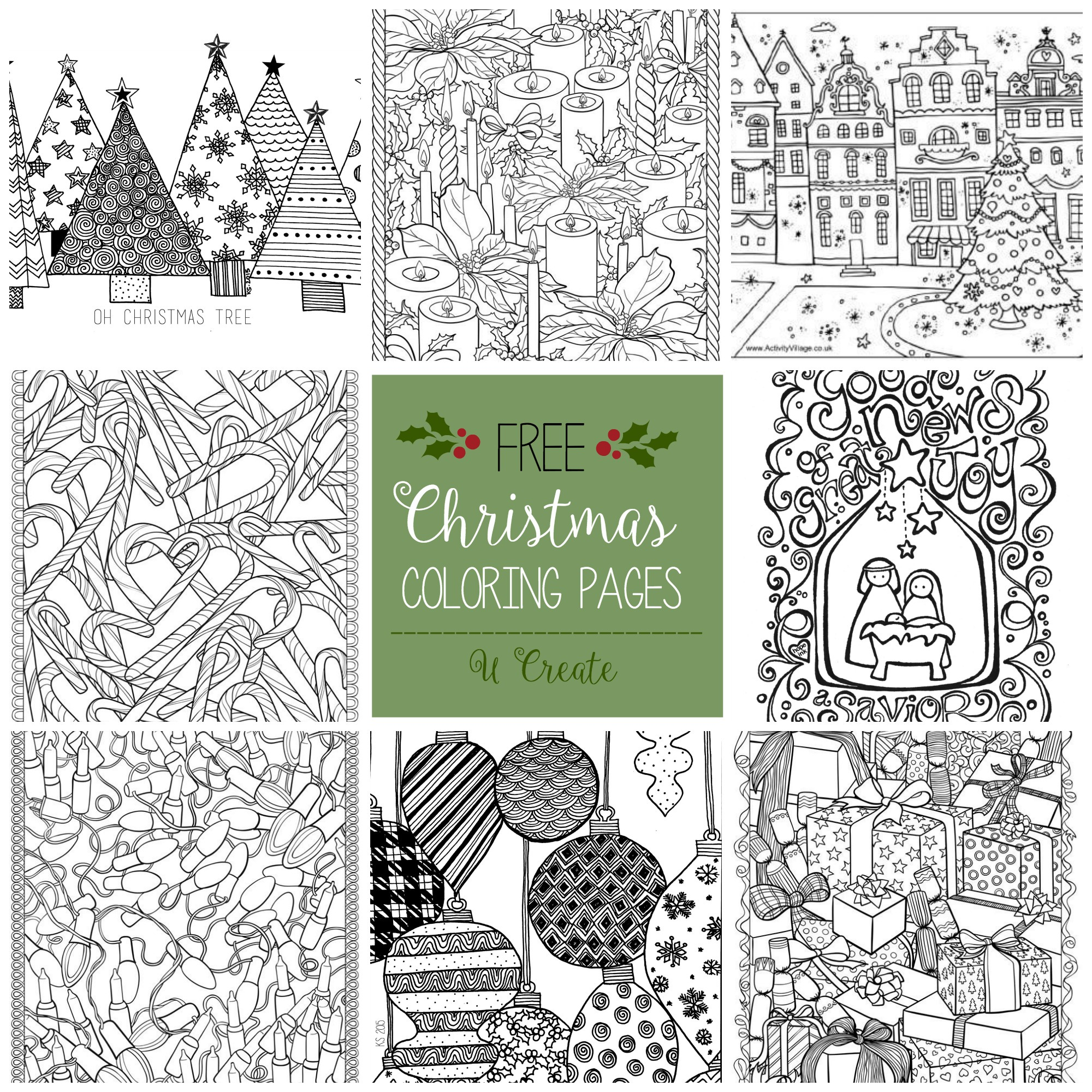 Christmas Coloring Pages For Free To Print With Adult U Create