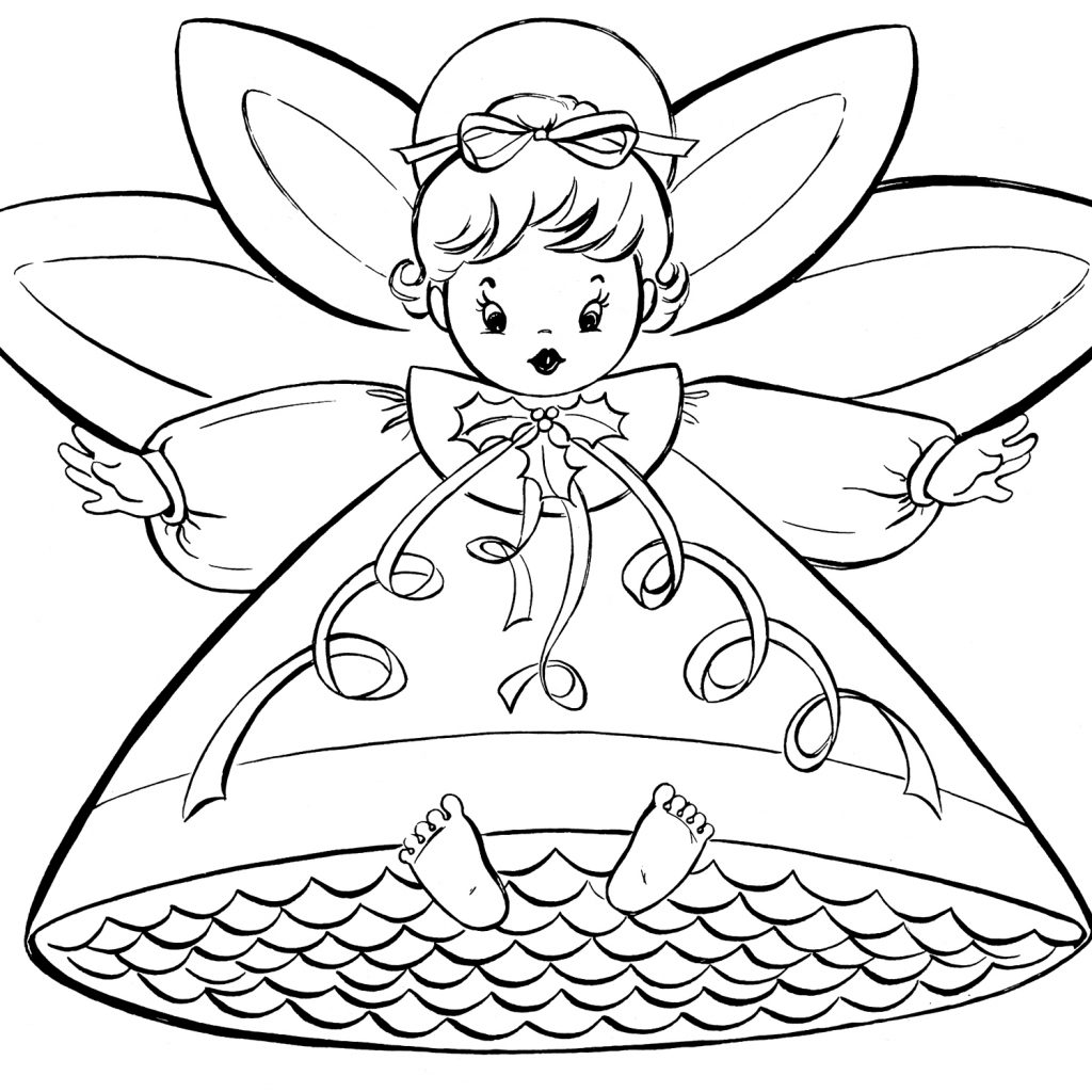 Christmas Coloring Pages For Free To Print With Retro Angels The Graphics Fairy