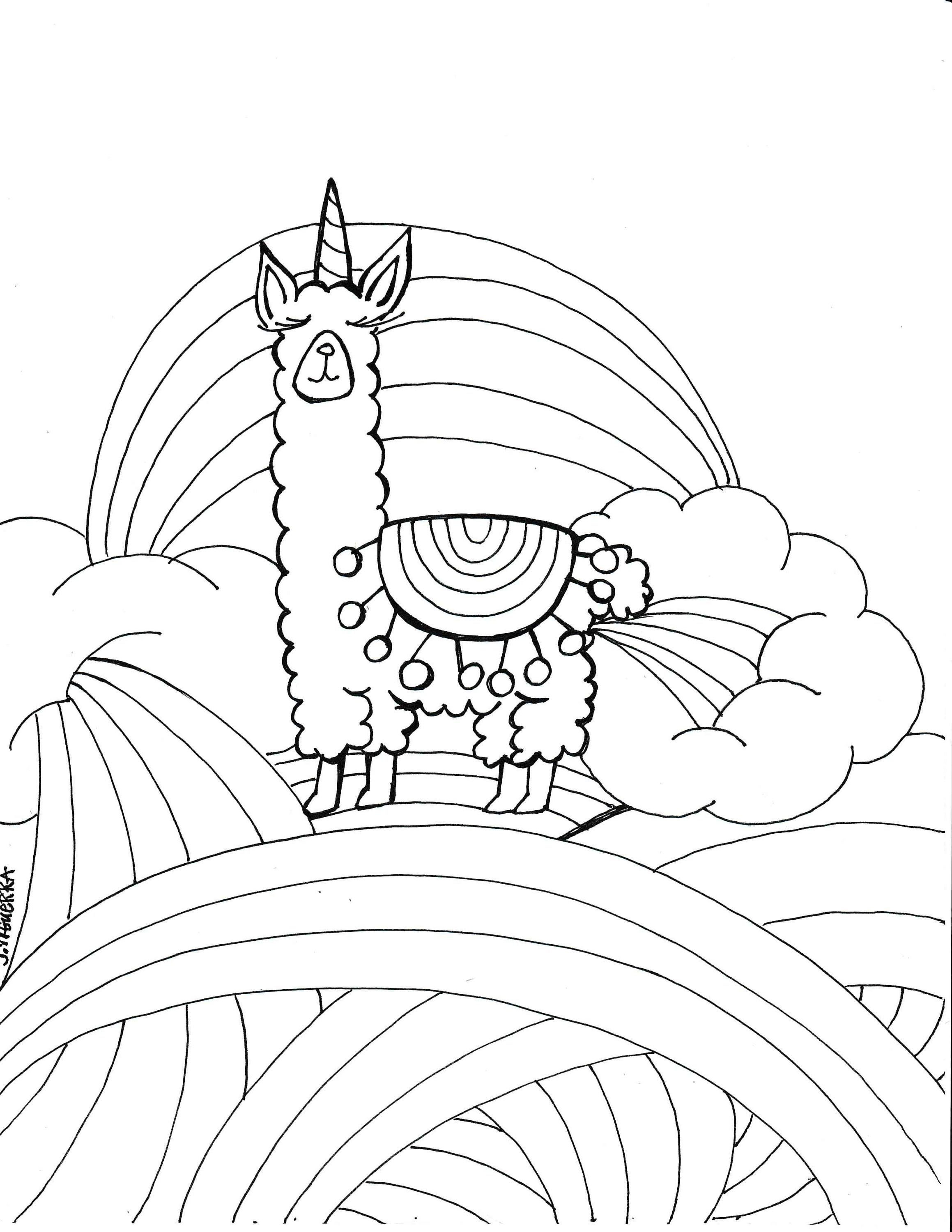 Christmas Coloring Pages For Intermediate Students With Llamacorn Page PDF Printable Art Parties Pinterest