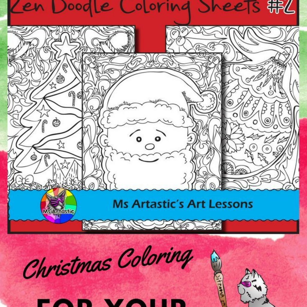 Christmas Coloring Pages For Intermediate Students With Zen Doodle Holiday Activity Set 2