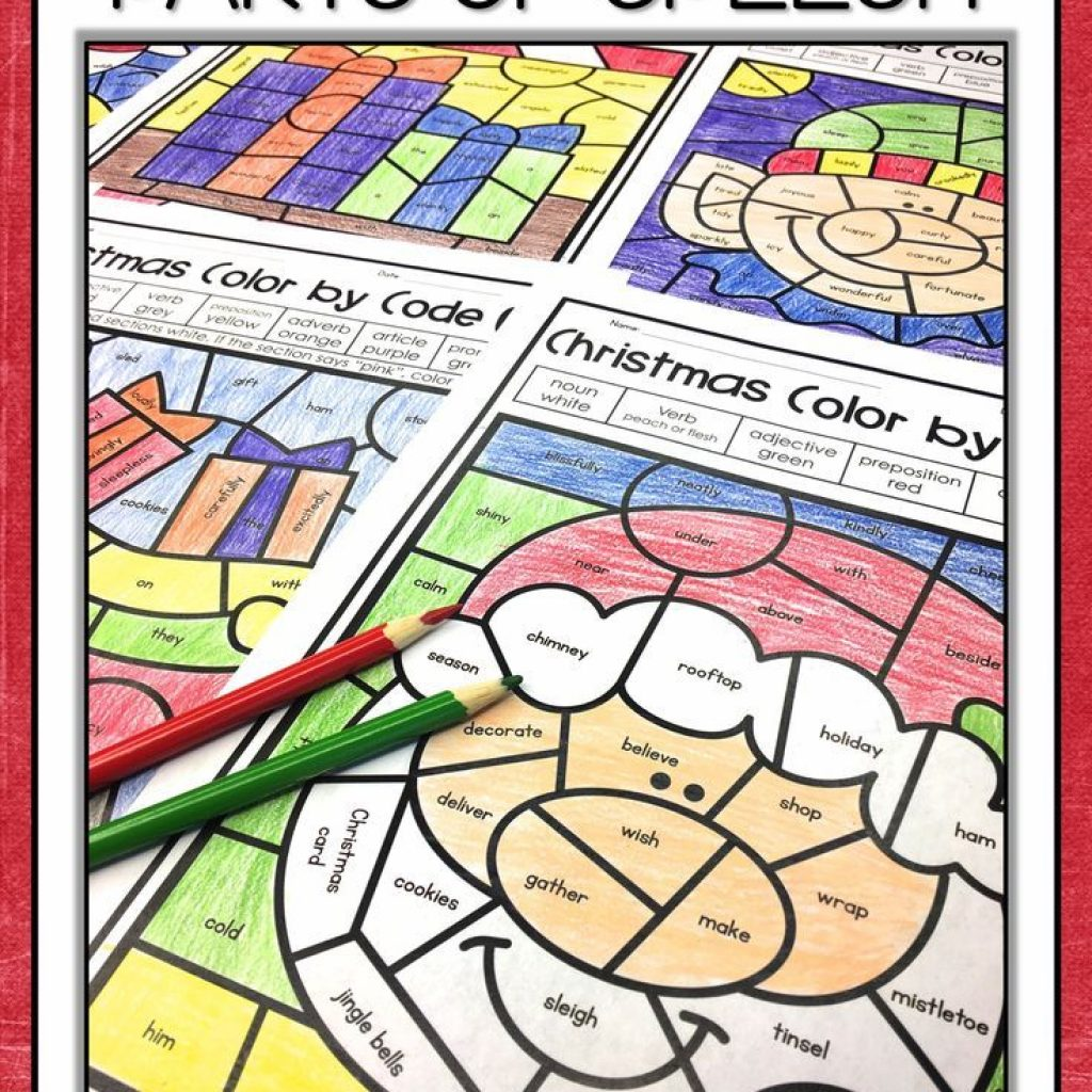 Christmas Coloring Pages For Middle School With Parts Of Speech Color By Number Teaching