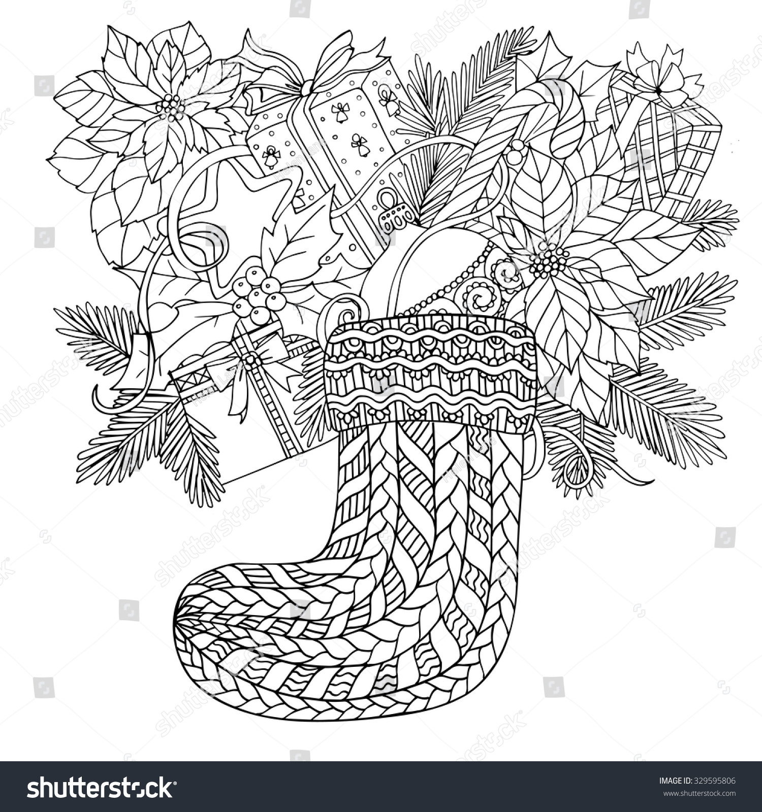 Christmas Coloring Pages For Older Students With Book Adult Children Stock Vector Royalty