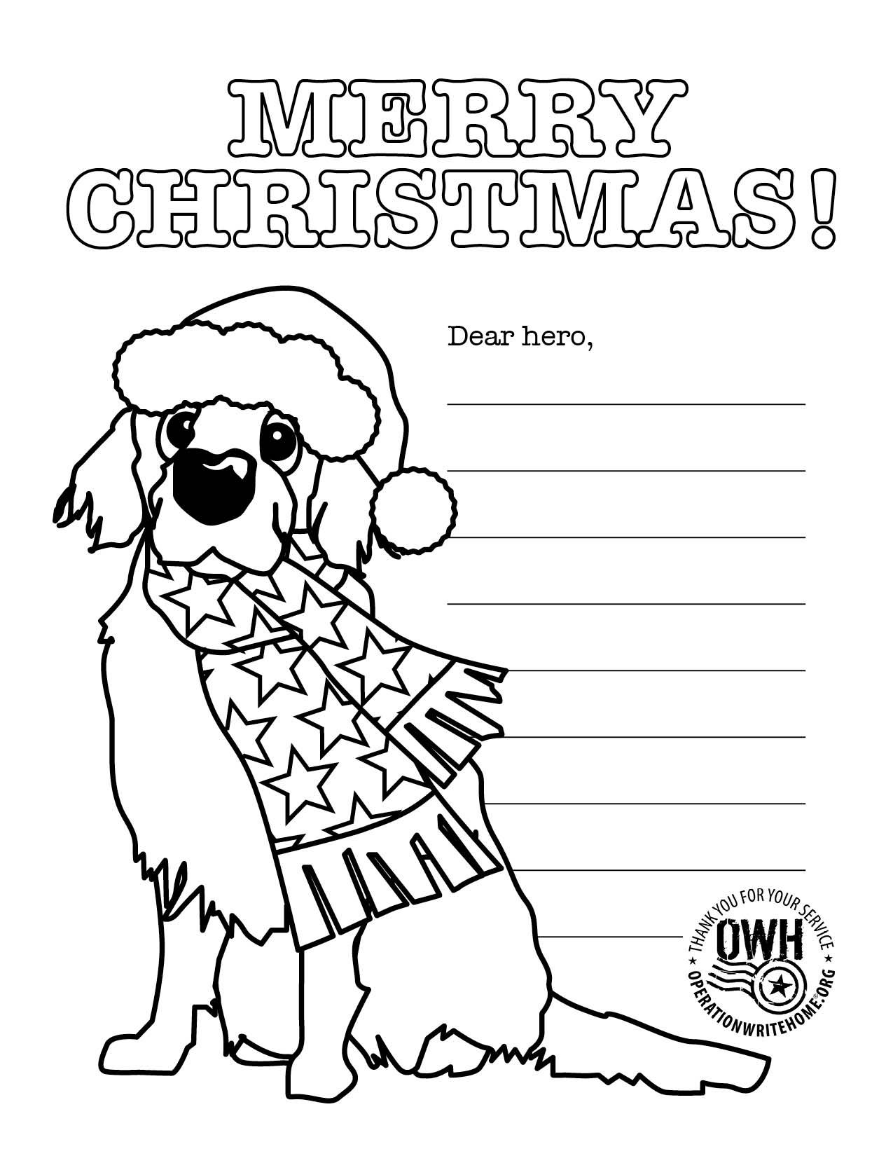 Christmas Coloring Pages For Soldiers With Operation Write Home Children Can Complete These