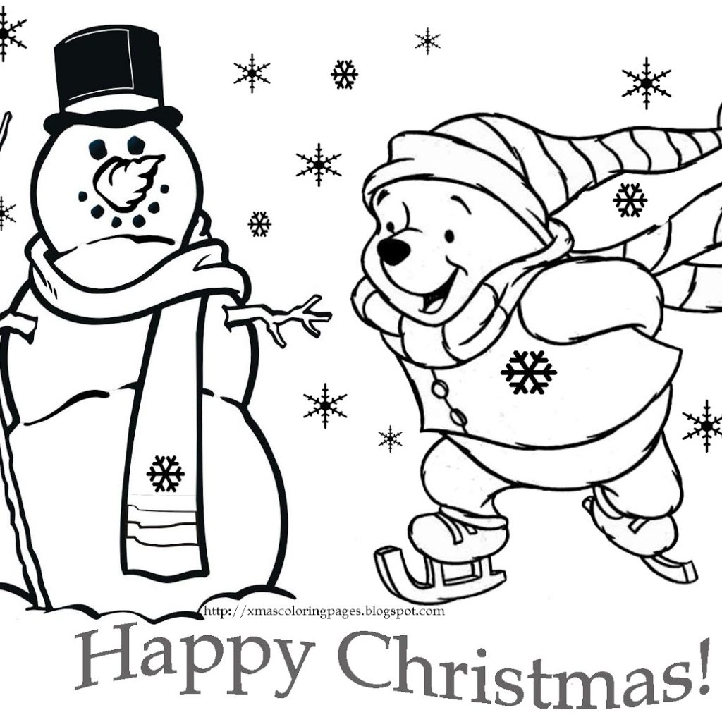 Christmas Coloring Pages For Students With Winnie The Pooh