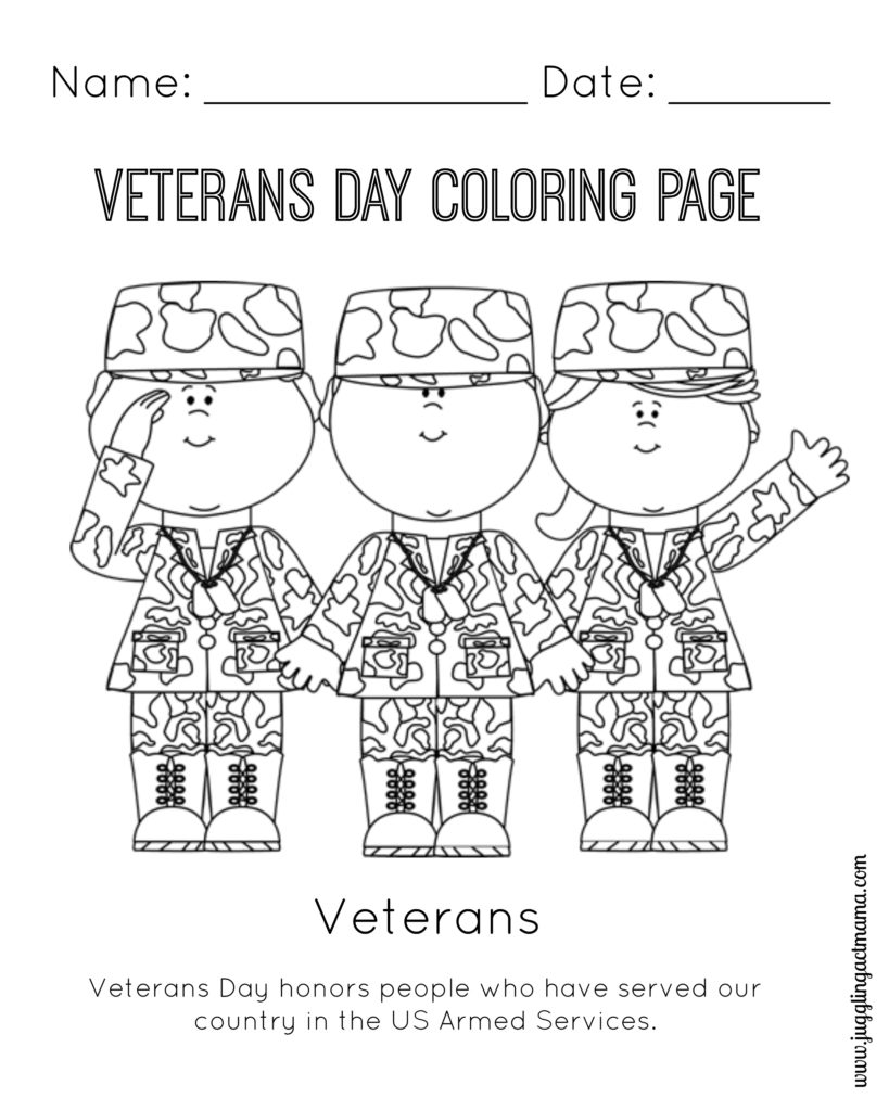 Christmas Coloring Pages For Veterans With Veteran S Day Printable Page Juggling Act Mama