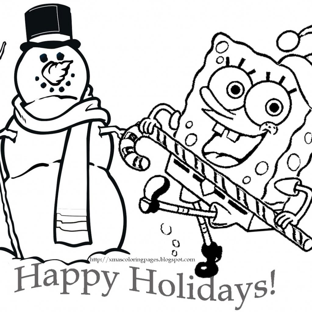 Christmas Coloring Pages Free And Printable With 28 Collection Of Spongebob High Quality