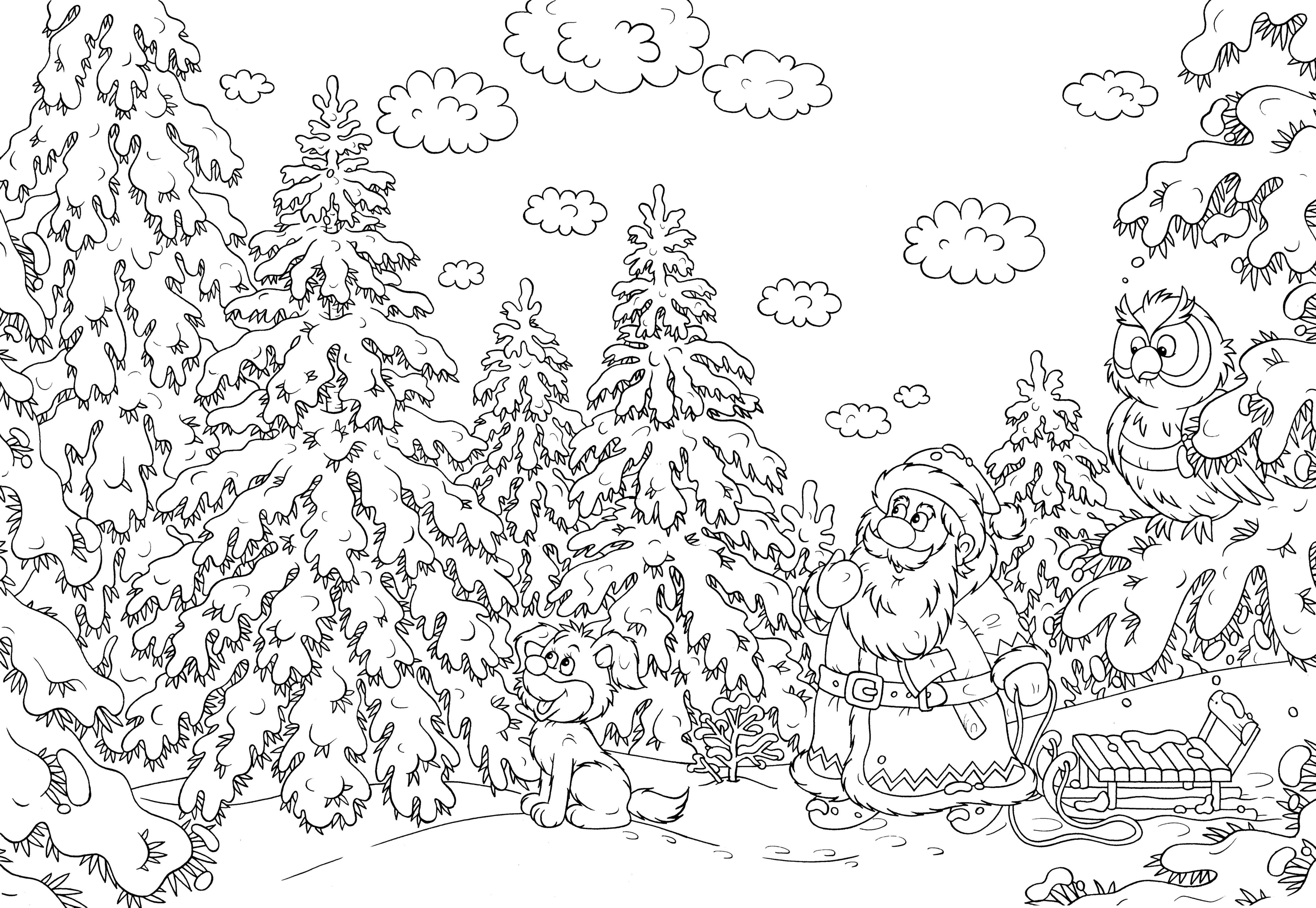Christmas Coloring Pages Free And Printable With Difficult For Adults Gallery
