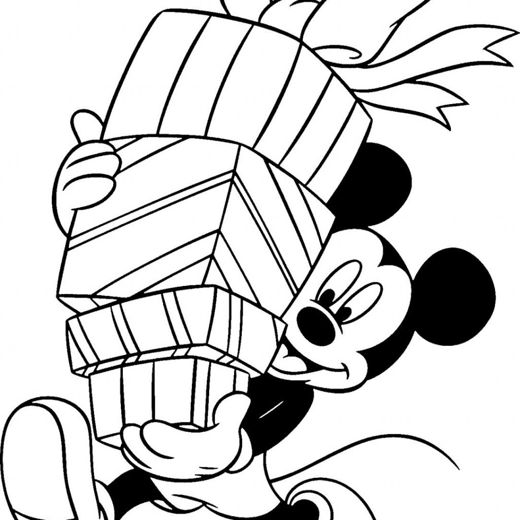 Christmas Coloring Pages Gifts With Free Disney Printable For Kids Adult