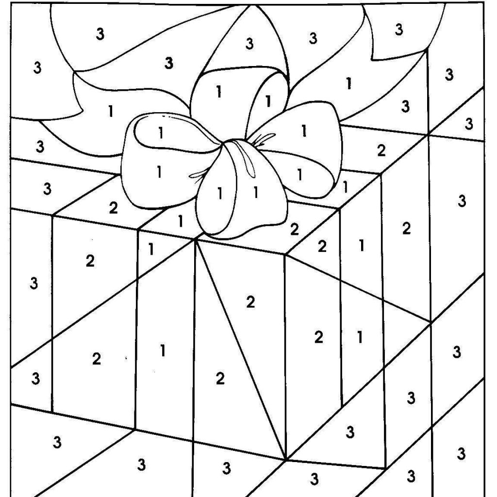 Christmas Coloring Pages Gifts With Gift Color By Number For Kids 91