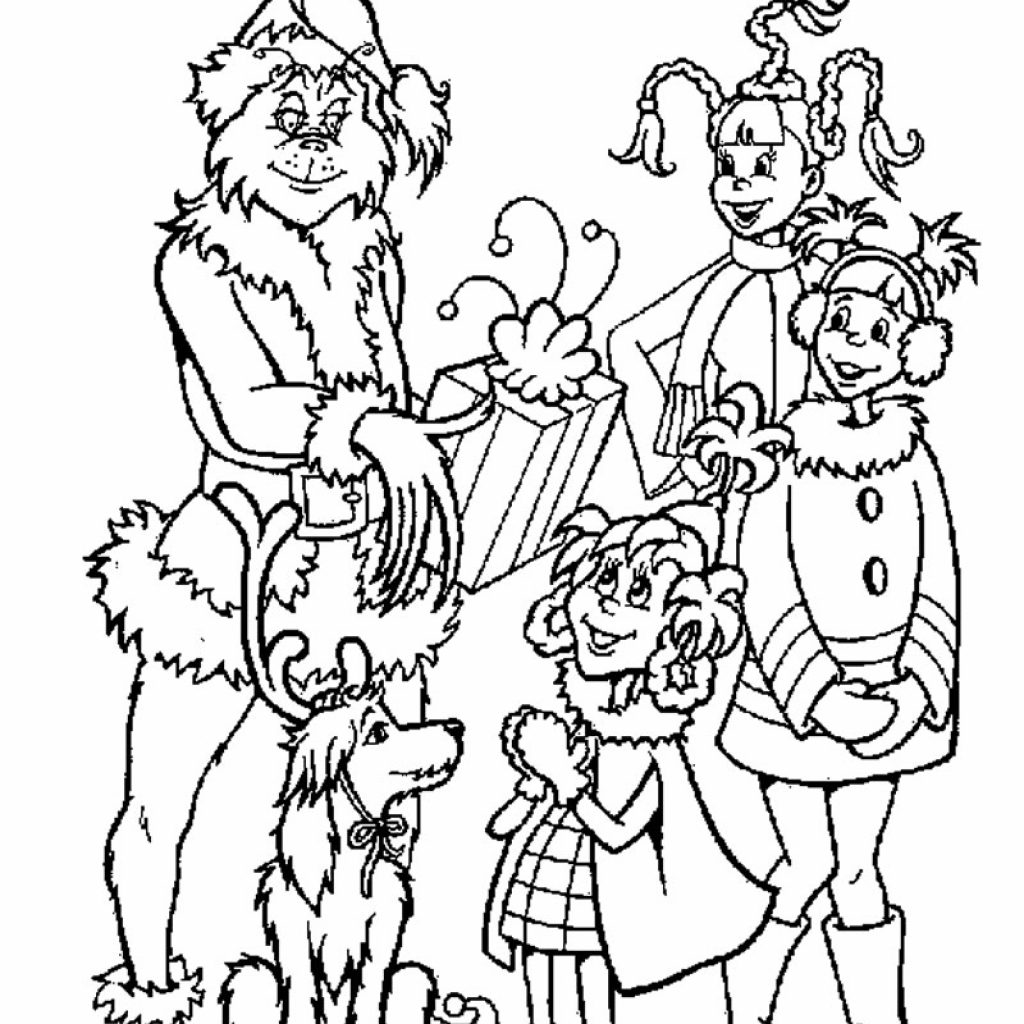 Christmas Coloring Pages Gifts With Grinch Gives Out Hellokids Com