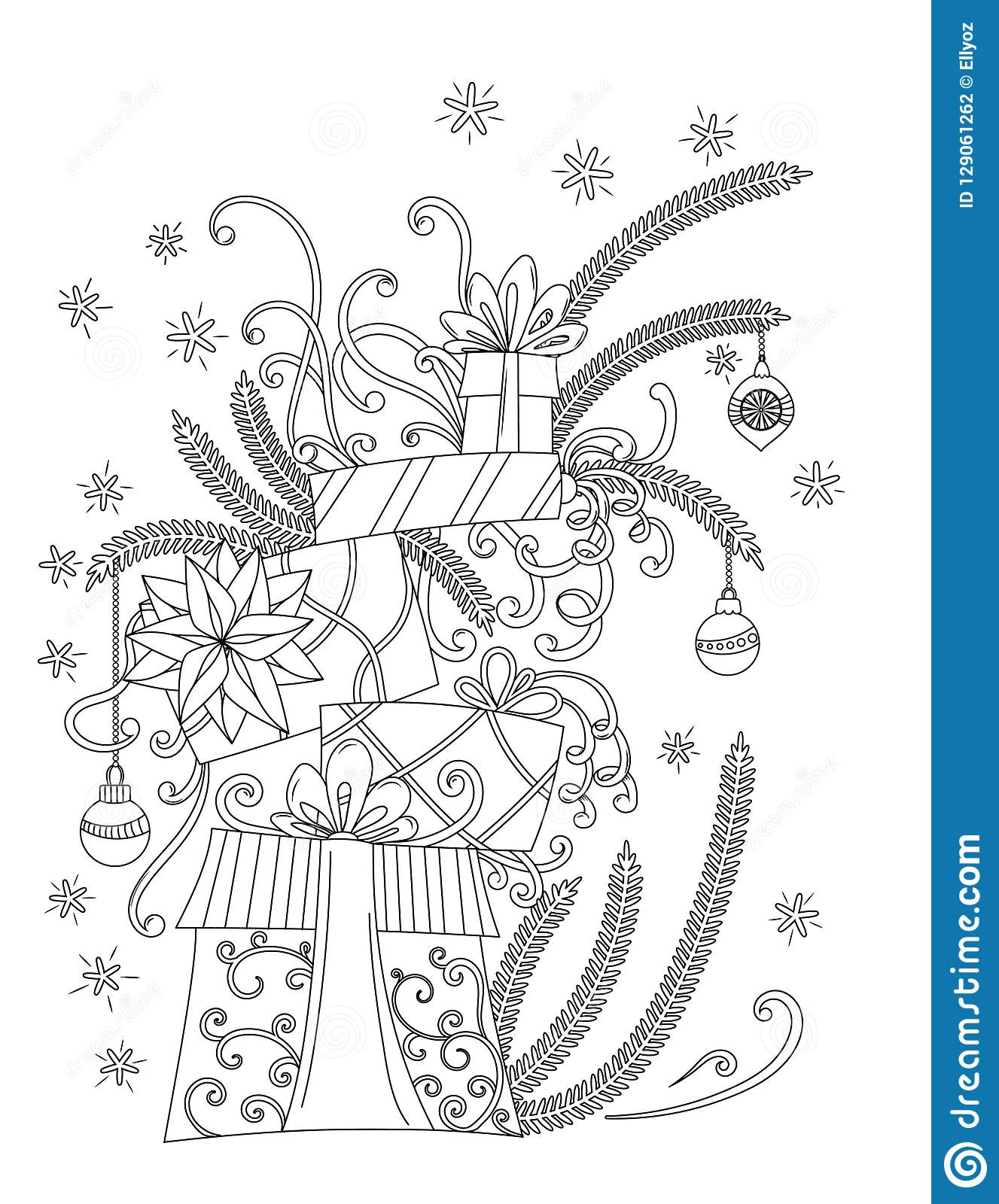 Christmas Coloring Pages Gifts With Page Stock Vector Illustration Of Merry 129061262