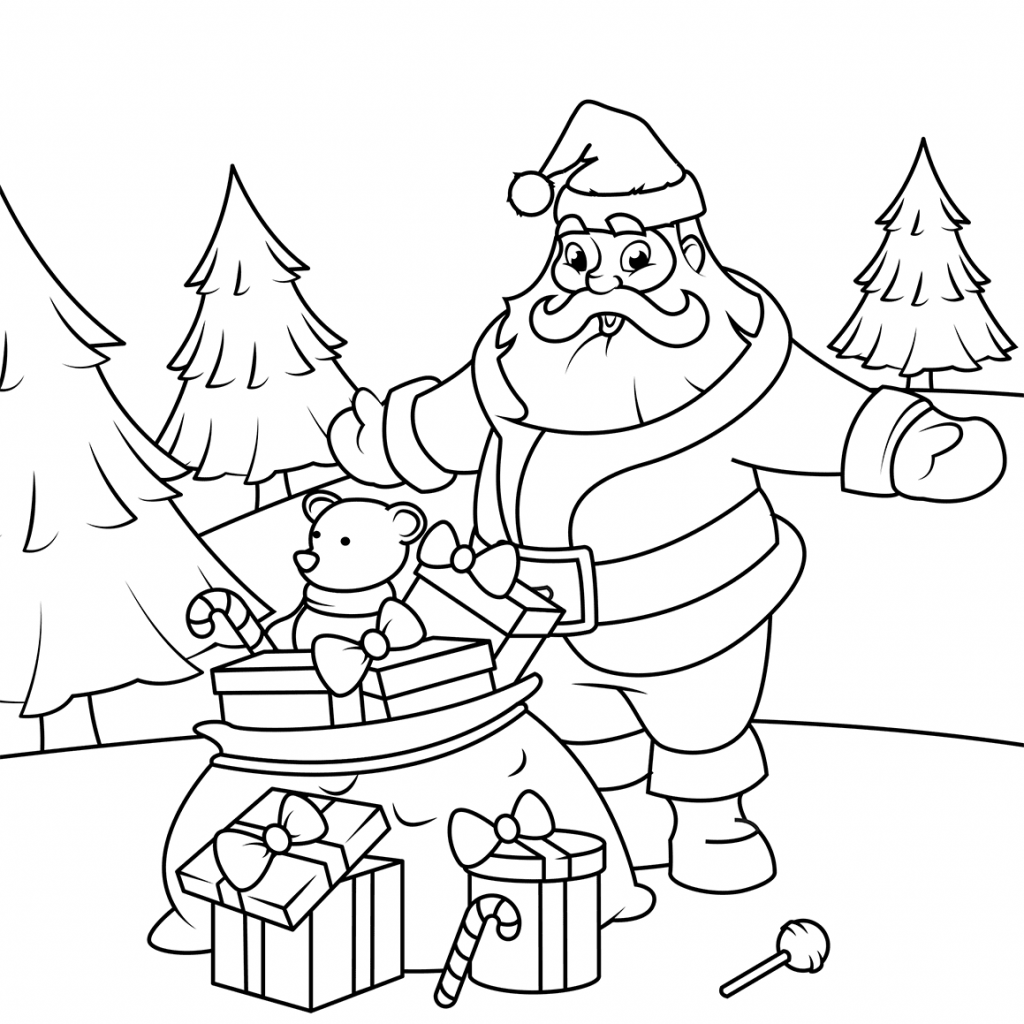 Christmas Coloring Pages Gifts With Santa Claus Printable