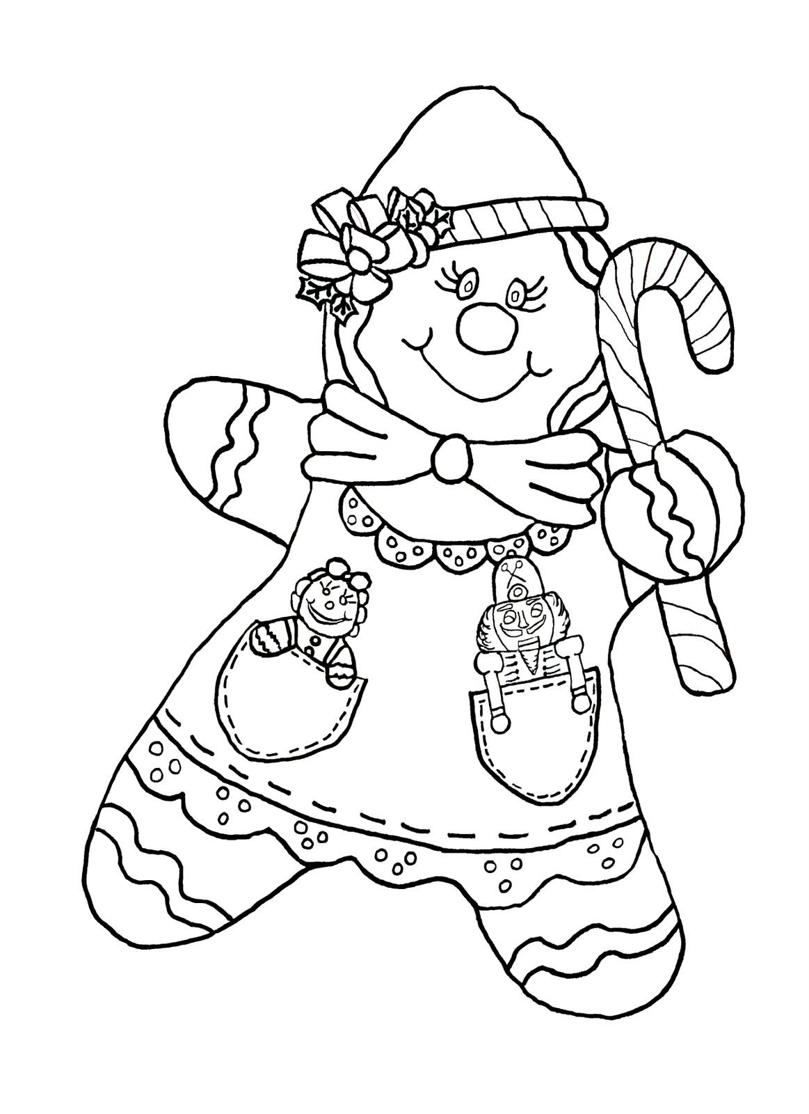 Christmas Coloring Pages Gingerbread Girl With Candy Cane Color Page Holidays Pinterest