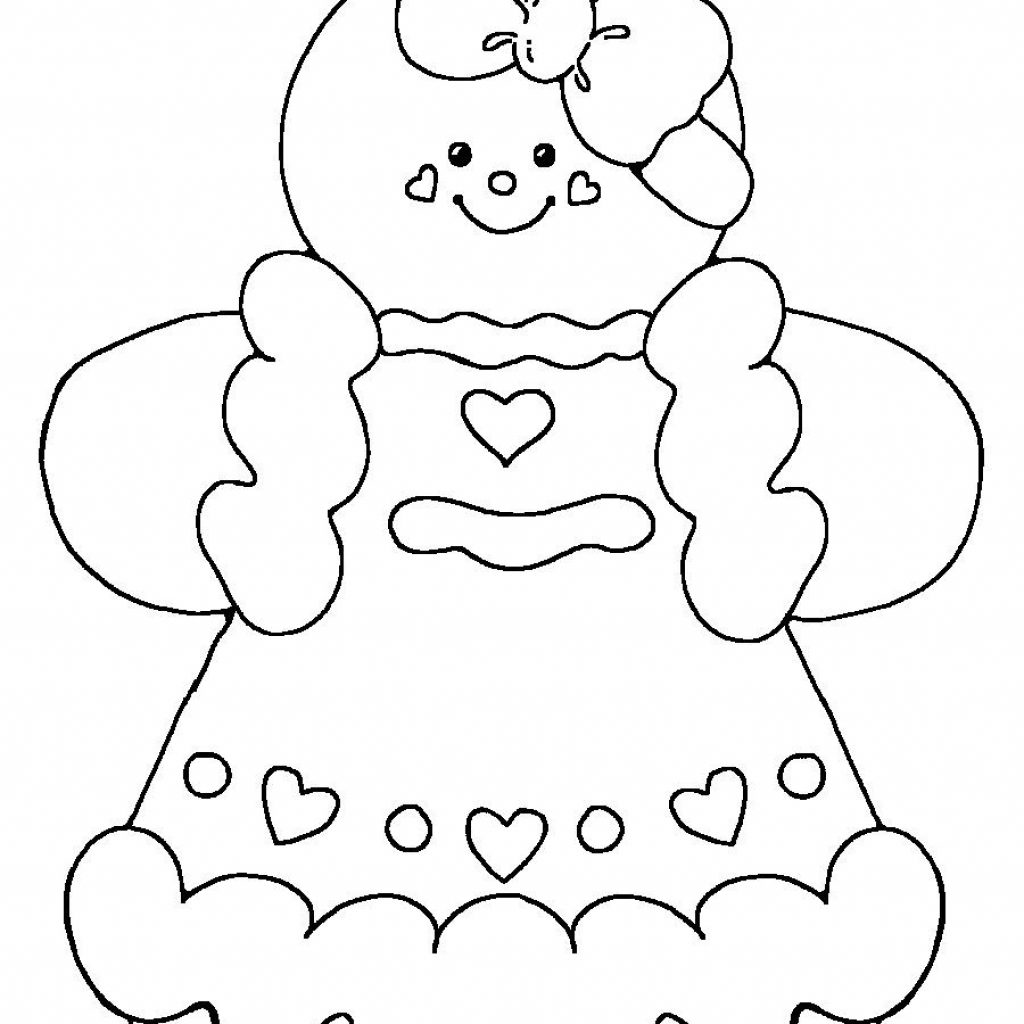 Christmas Coloring Pages Gingerbread Girl With Man Printable All