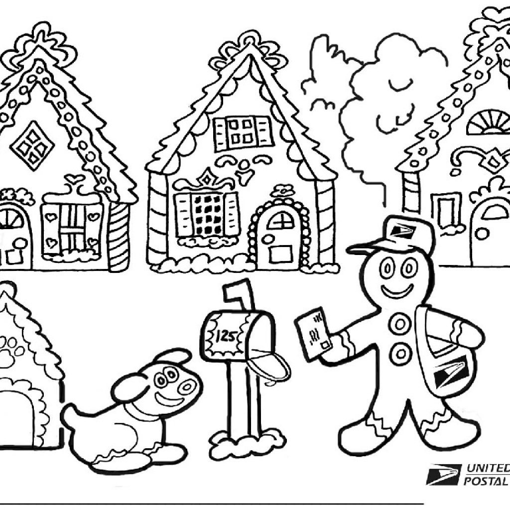 Christmas Coloring Pages Gingerbread House With Color Page Ironenclave Com