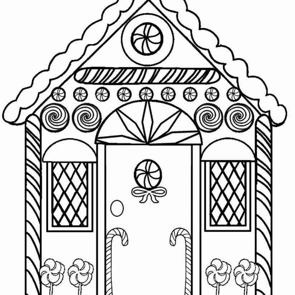 Christmas Coloring Pages Gingerbread House With Detailed Printables