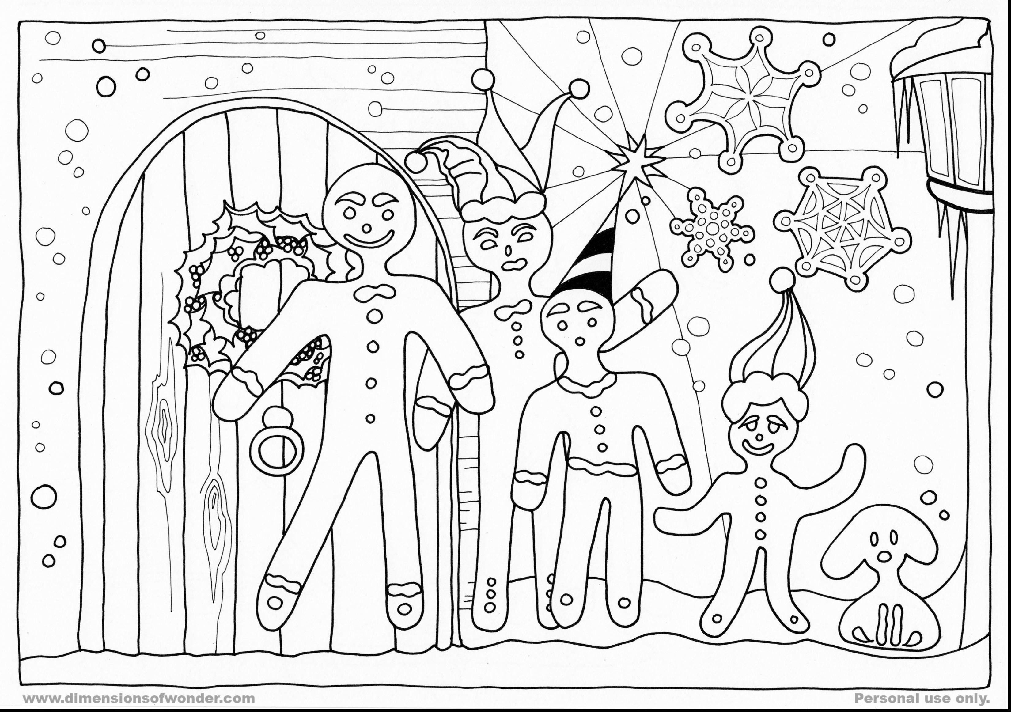 Christmas Coloring Pages Gingerbread House With Free Library