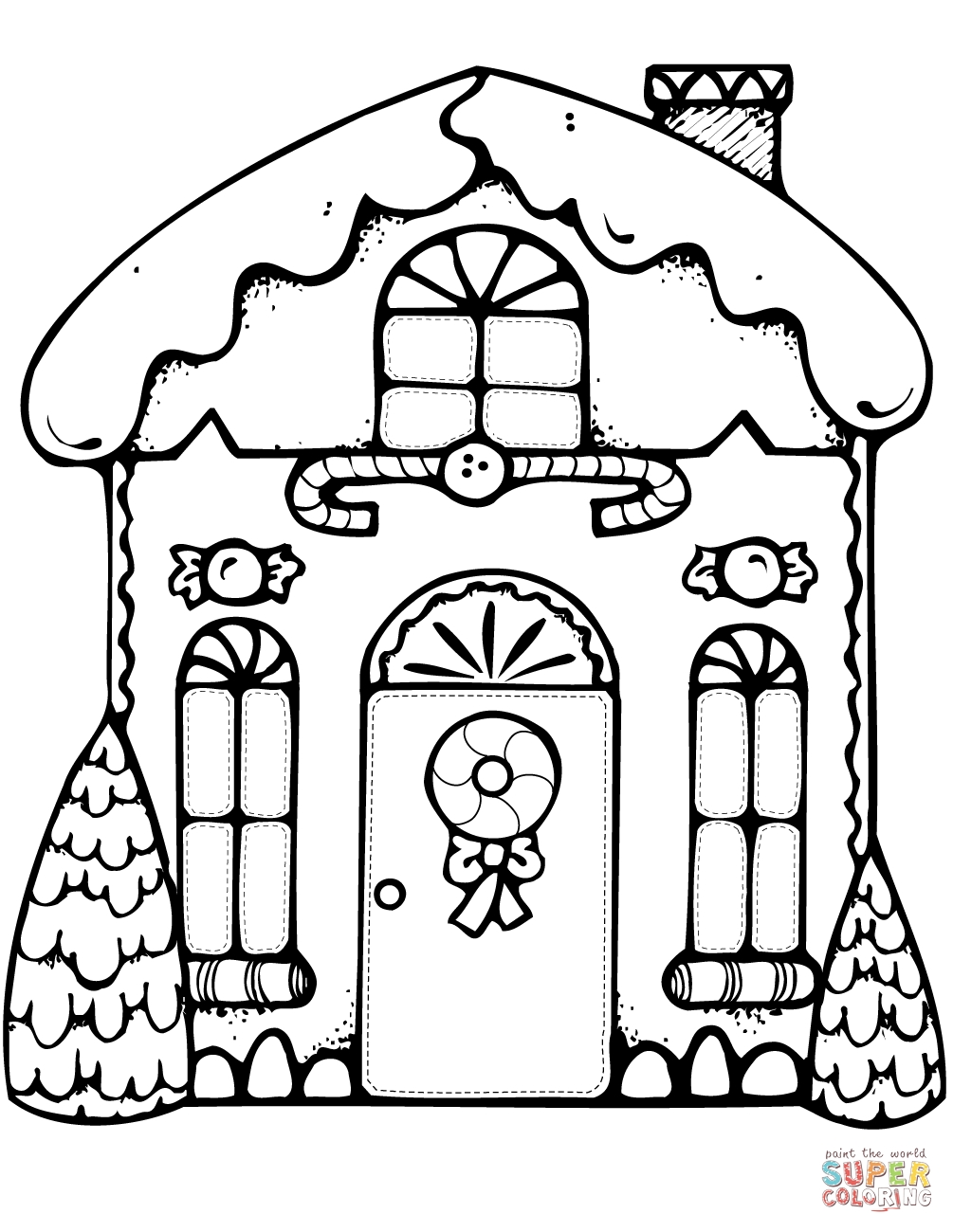 Christmas Coloring Pages Gingerbread House With Free Man Sheets