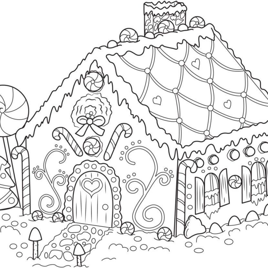 Christmas Coloring Pages Gingerbread House With Free Printable Snowflake For Kids Drawings