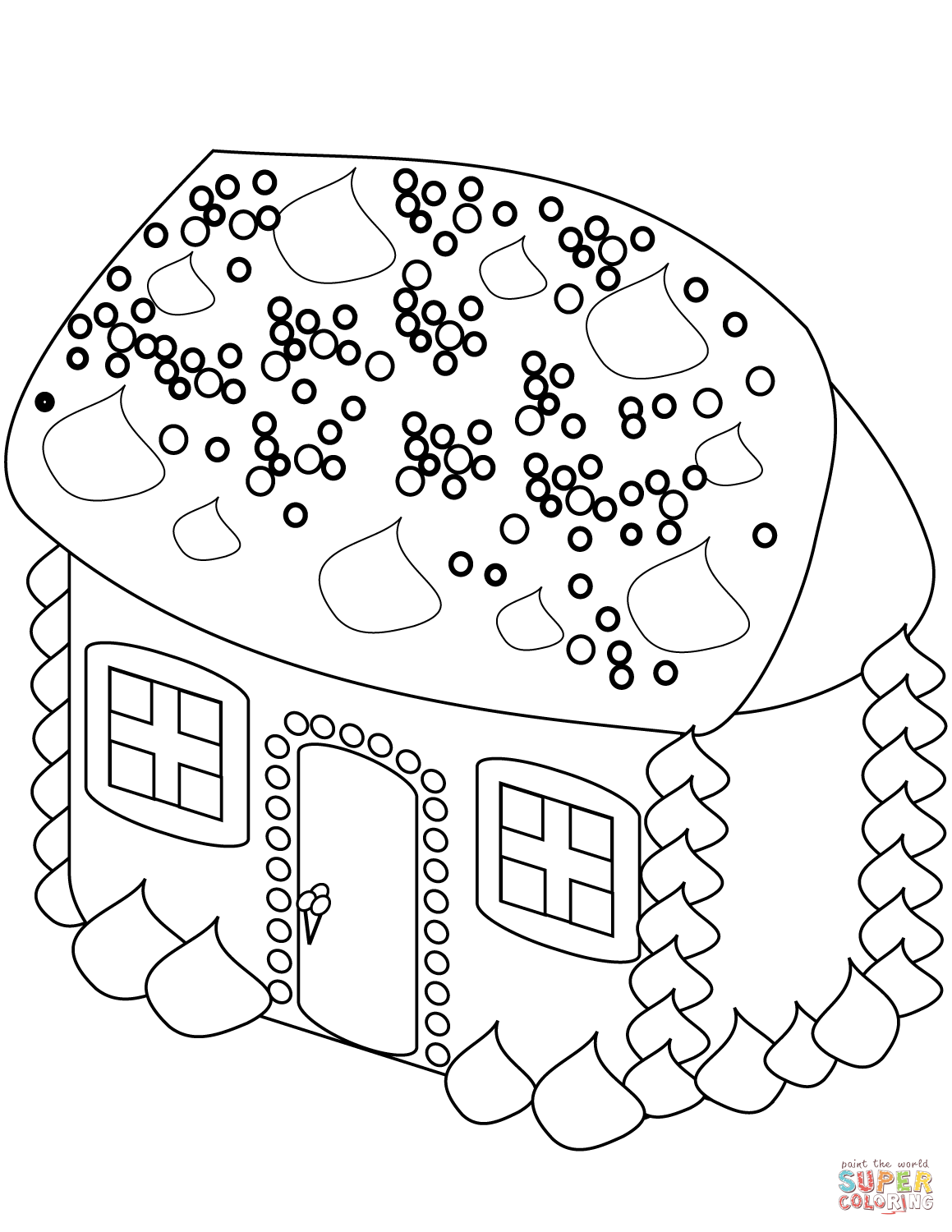 Christmas Coloring Pages Gingerbread House With Page Free Printable