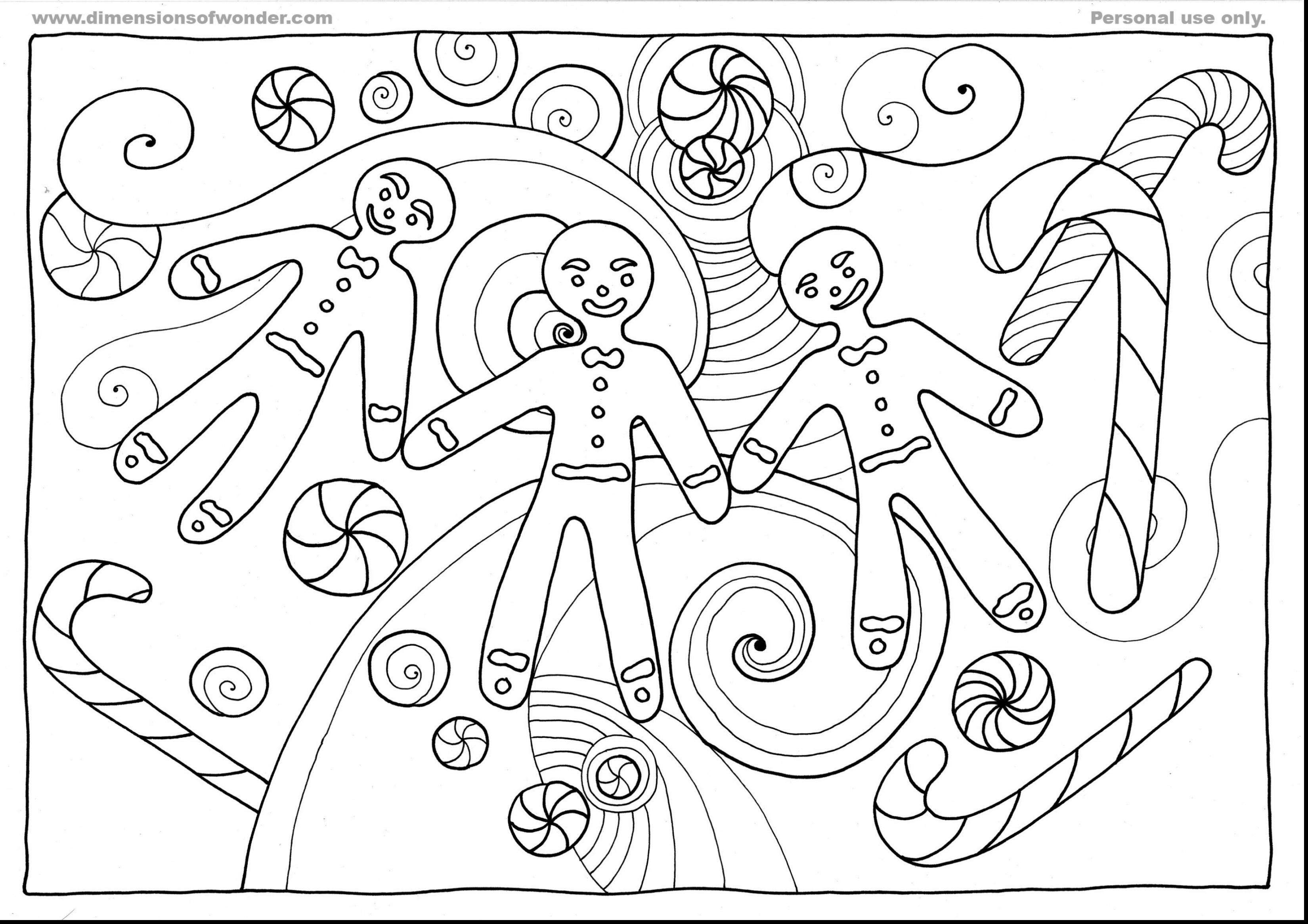 Christmas Coloring Pages Gingerbread Man With Color