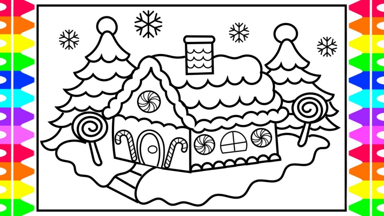Christmas Coloring Pages Gingerbread With CHRISTMAS COLORING How To Draw And Color A House Kids