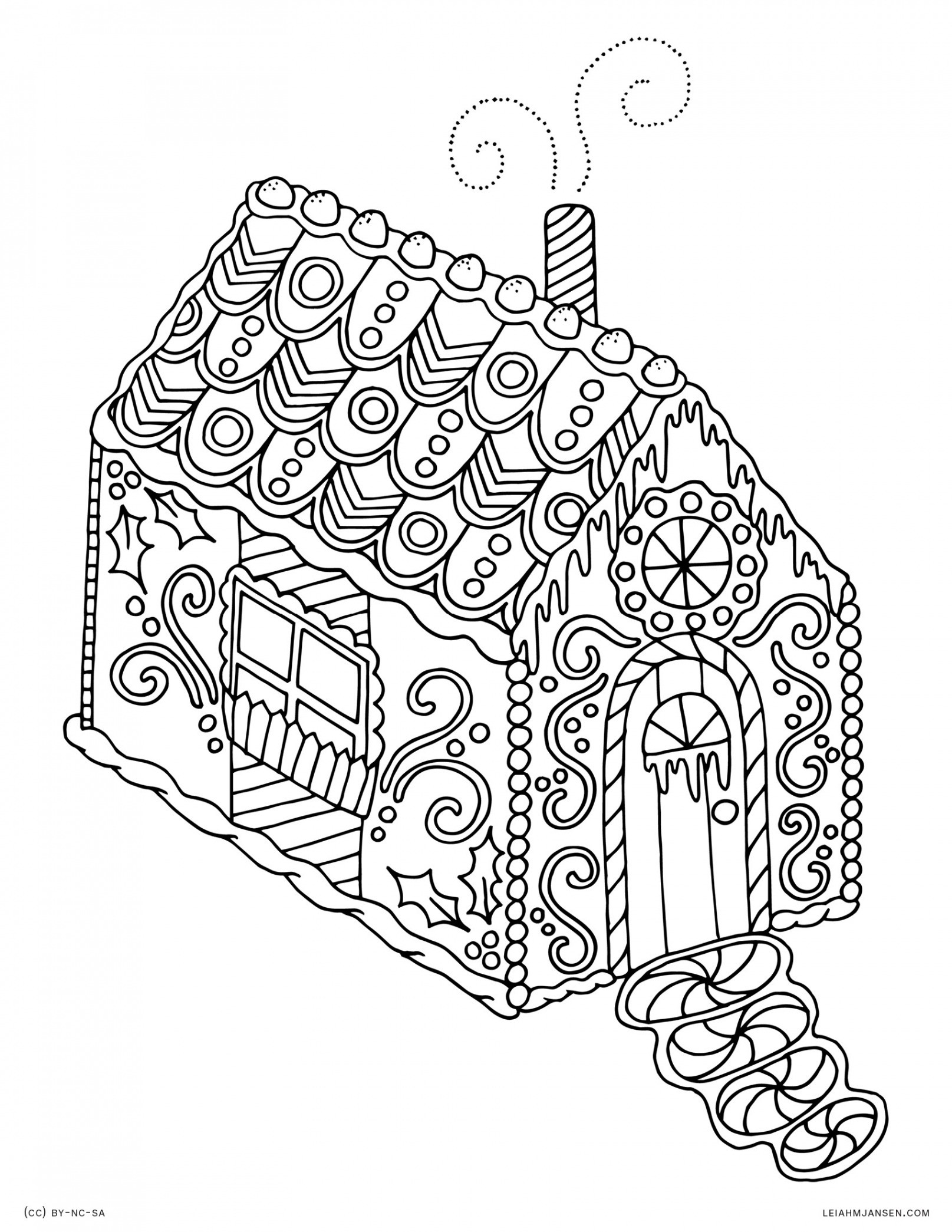 Christmas Coloring Pages Gingerbread With Free House