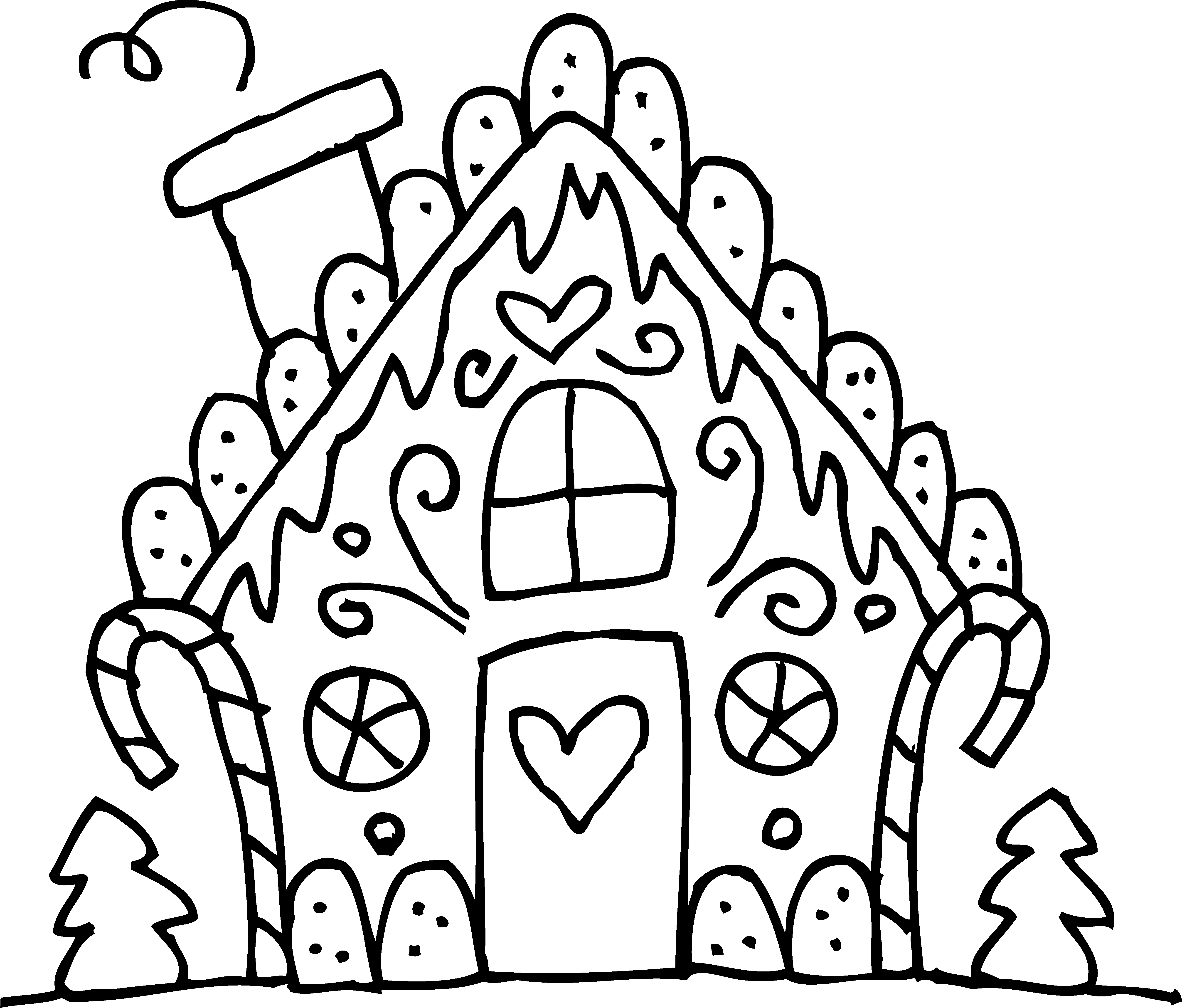 Christmas Coloring Pages Gingerbread With House Download Free