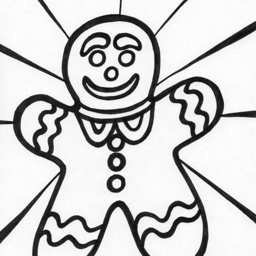 Christmas Coloring Pages Gingerbread With Man For Kids