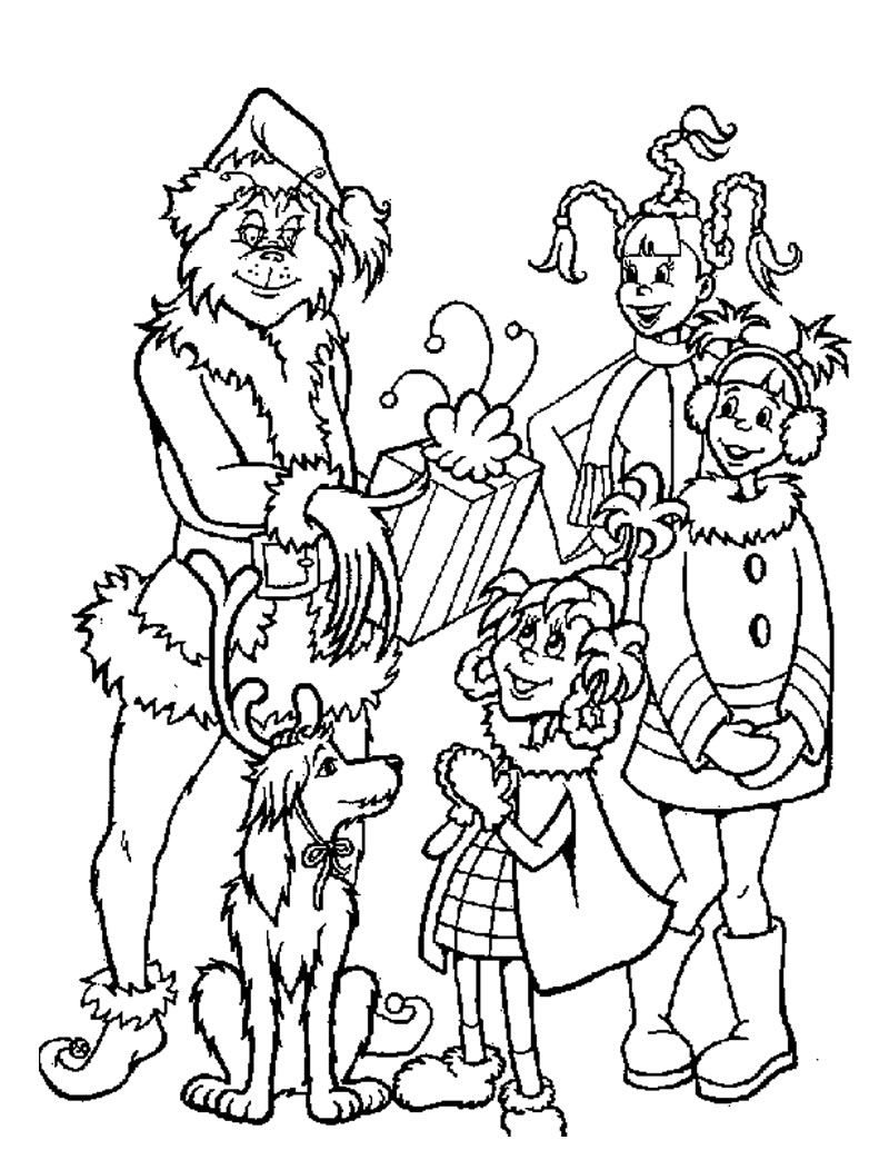 Christmas Coloring Pages Grinch With And Kids Page Winter Sheets