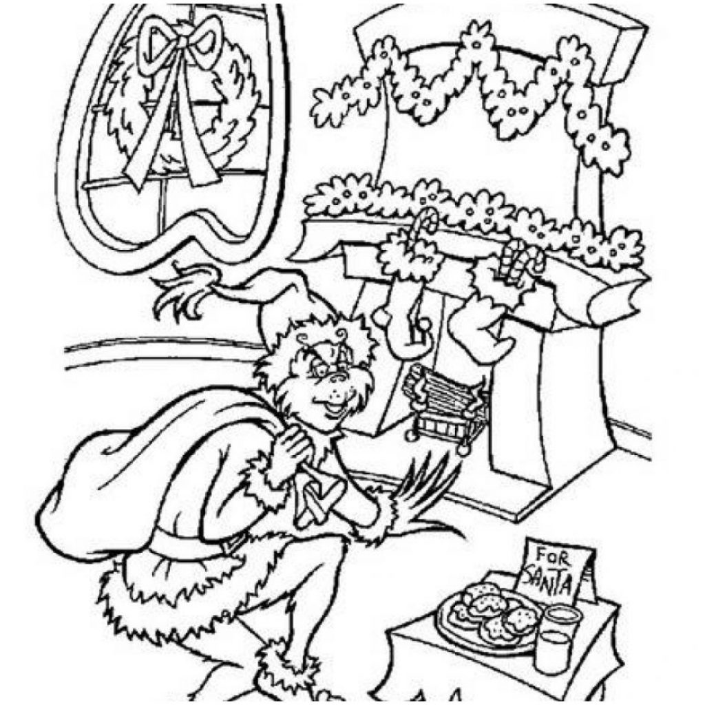 Christmas Coloring Pages Grinch With How The Stole Baby