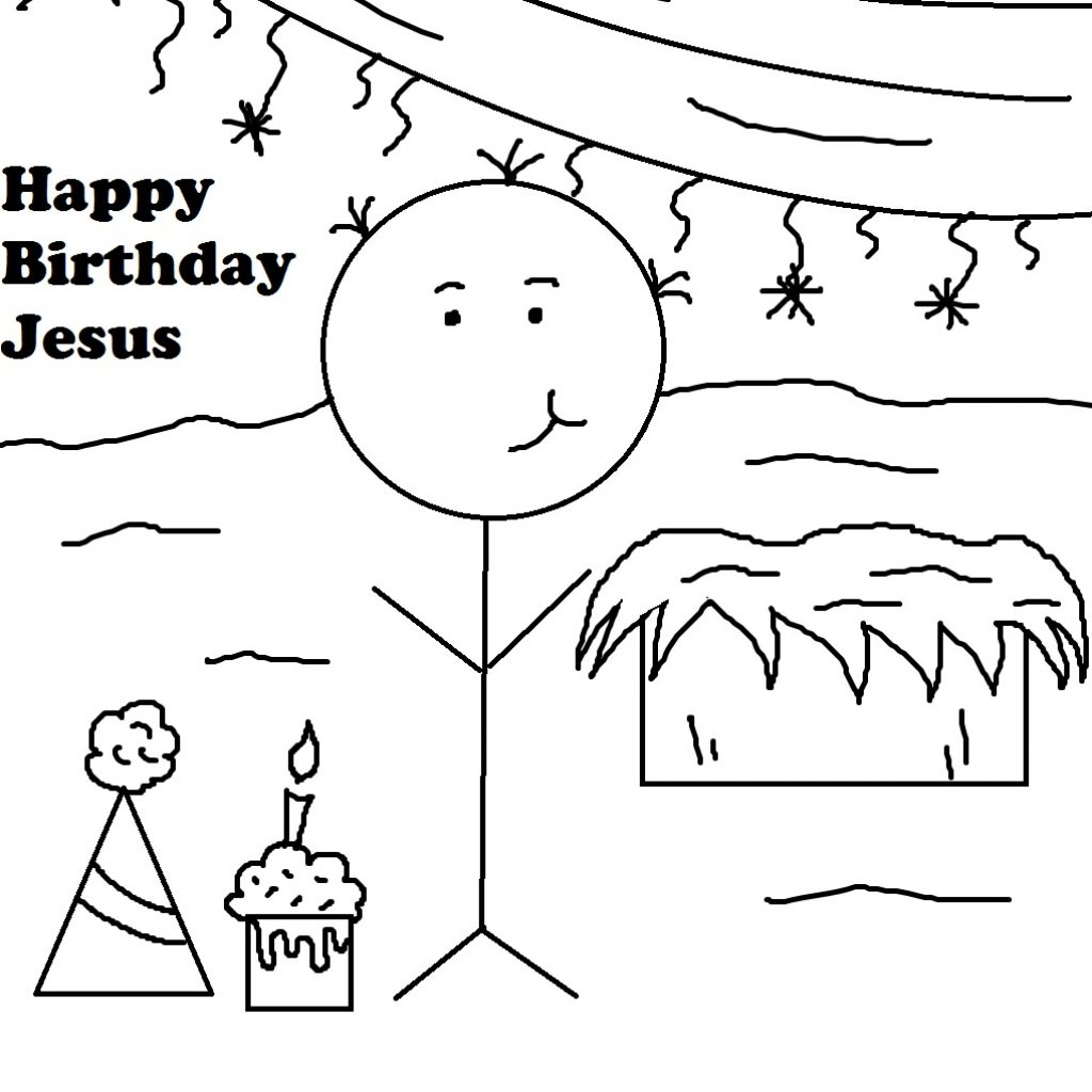 Christmas Coloring Pages Happy Birthday Jesus With