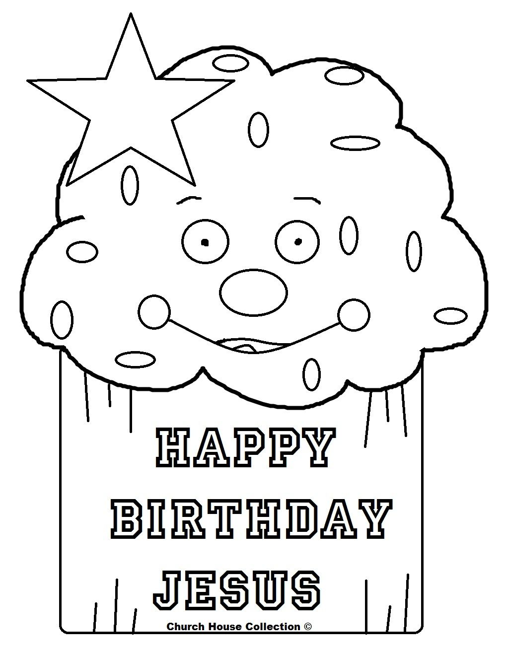 Christmas Coloring Pages Happy Birthday Jesus With Cupcake Page Mewarnai HAPPY