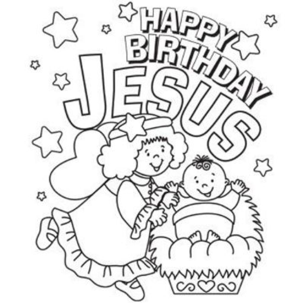 Christmas Coloring Pages Happy Birthday Jesus With Pics Of Page Throughout