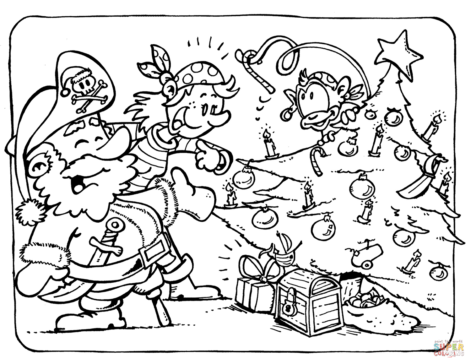 Christmas Coloring Pages Hd With Pirates Celebrate Page Free Printable