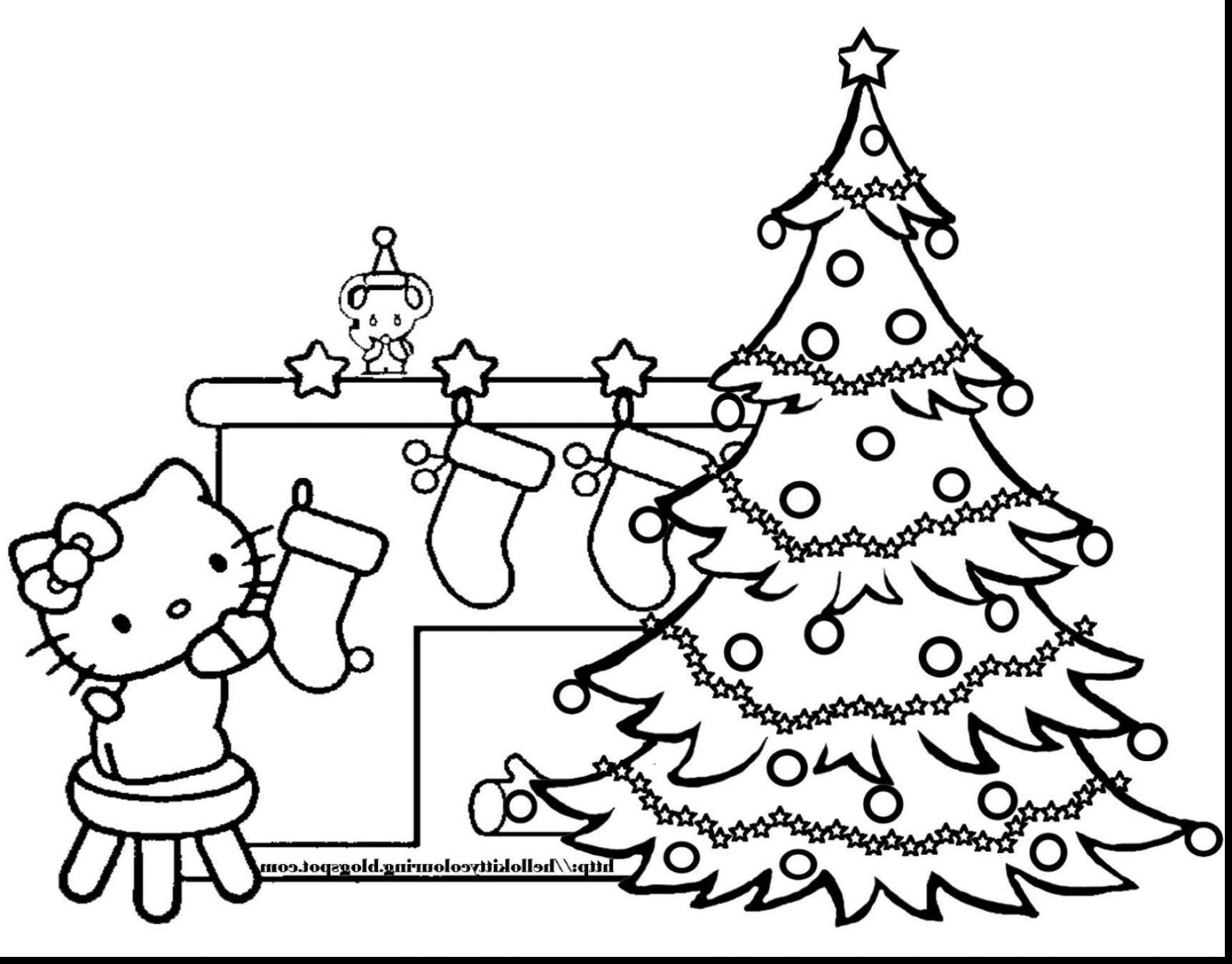 Christmas Coloring Pages Hello Kitty With Best Of Collection Free