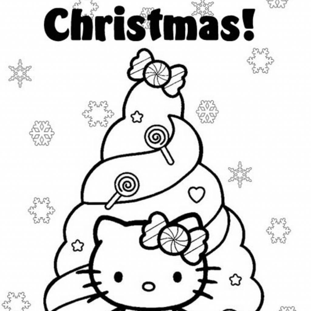 Christmas Coloring Pages Hello Kitty With Coloringsuite Com