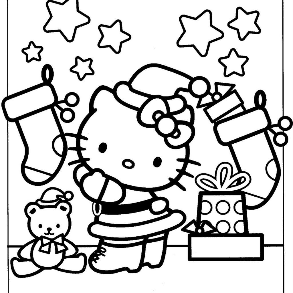 Christmas Coloring Pages Hello Kitty With Free Books