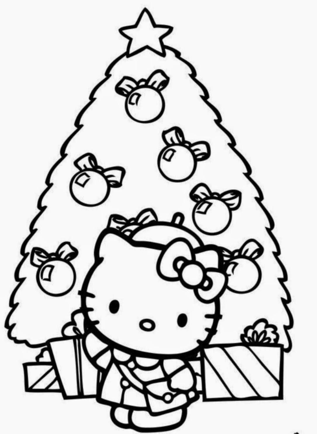 Christmas Coloring Pages Hello Kitty With Free Print 2366854