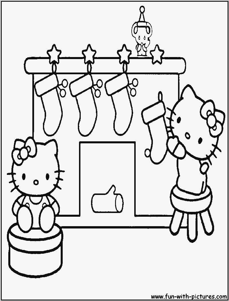 Christmas Coloring Pages Hello Kitty With Getcoloringpages